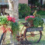 Использование старых велосипев в ландшафтном дизайне