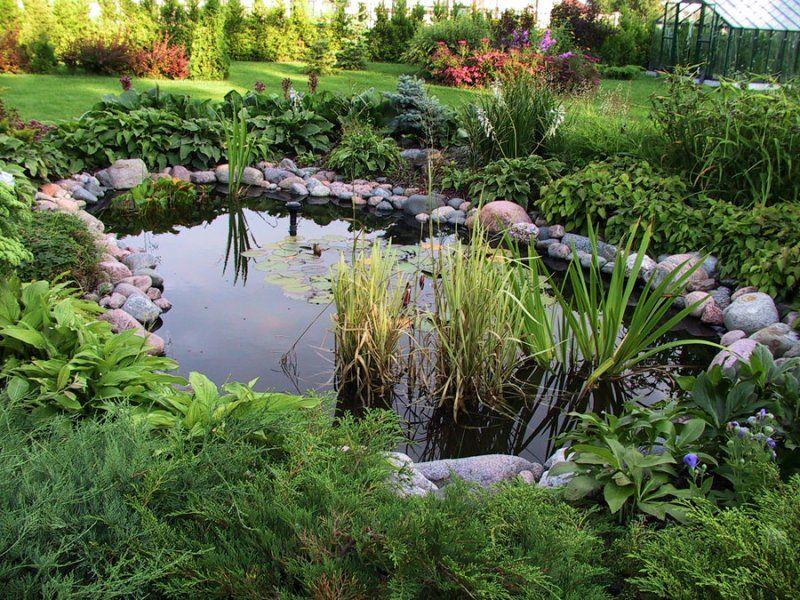Для сооружения садового пруда потребуются специальные материалы