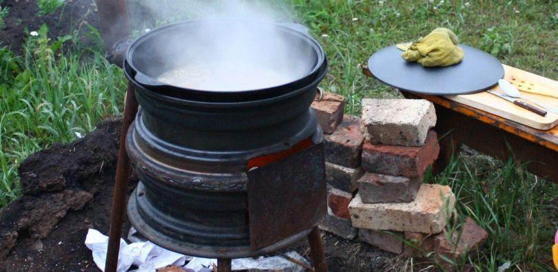 Печка для казана из автомобильных дисков