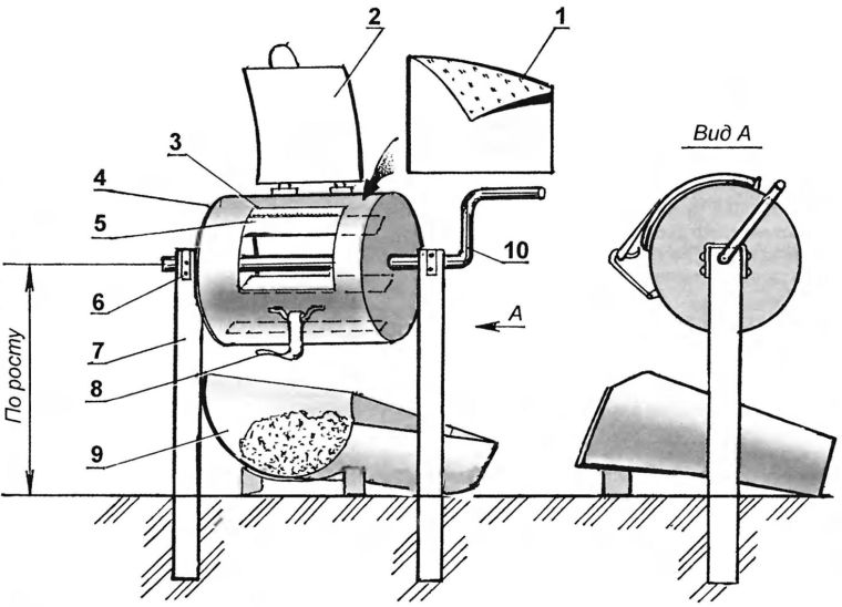 чертеж бетономешалки из бочки