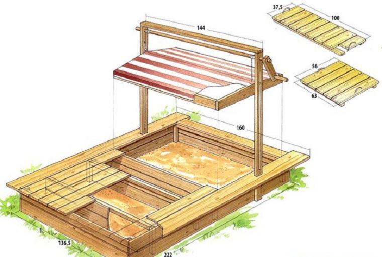Песочница с крышкой схема