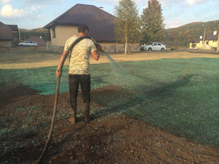 Посев газона из спецпушки