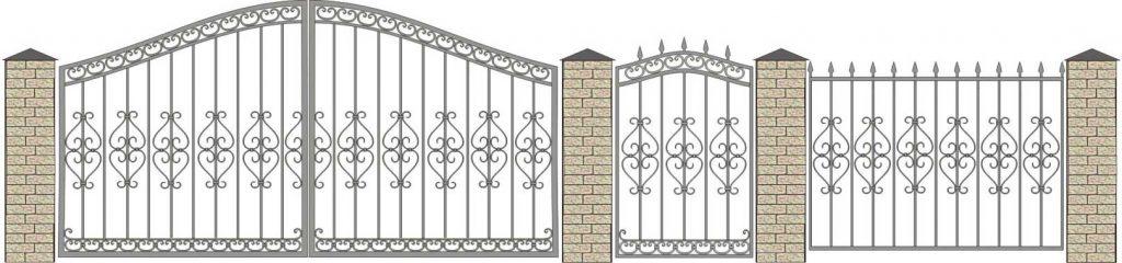 Кованые ворота, калитки, заборы, эксизы