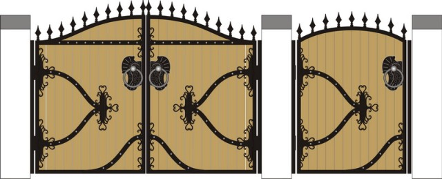 Кованые ворота с деревом