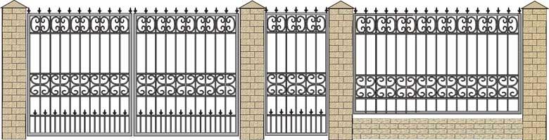 Кованые ворота, калитки в картинках