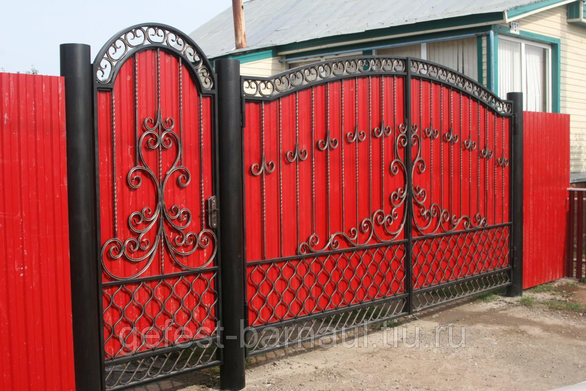 Ворота из профнастила с элементами ковки своими руками фото