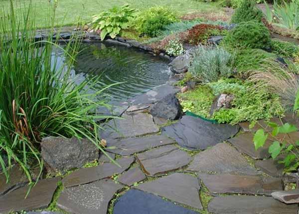 Как оформить водоем у дорожки