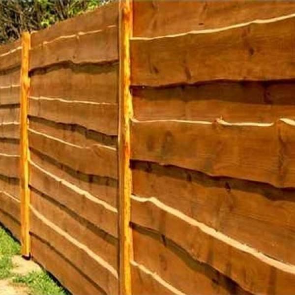 Забор из горбыля окраска