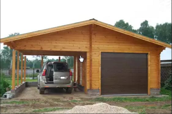 Каркас гаража из бруса с односкатной крышей 12х4