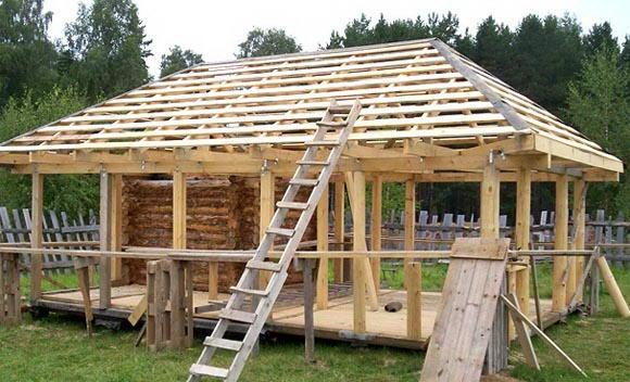 Вальмовая крыша на беседку как сделать