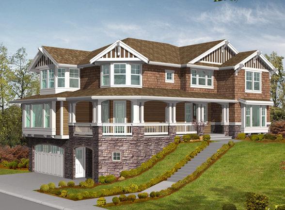 Проект дома с цокольным этажом на рельефном участке.