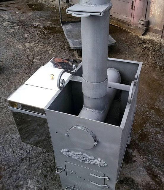 Печь для бани из металла с баком