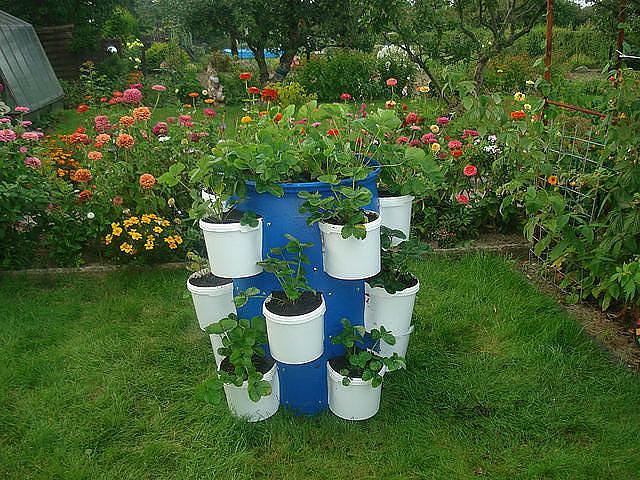Оригинальная идея оформления вазонов с растениями