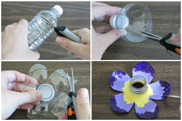 Изготовление цветка из пластиковой бутылки
