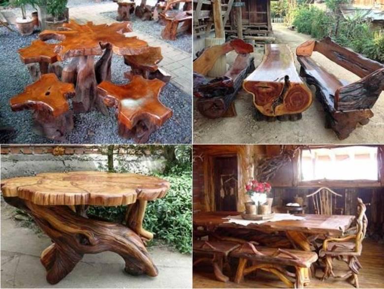 Столы и стулья из бревен и коряг