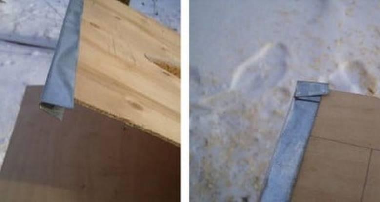 Крепление металлической кромки