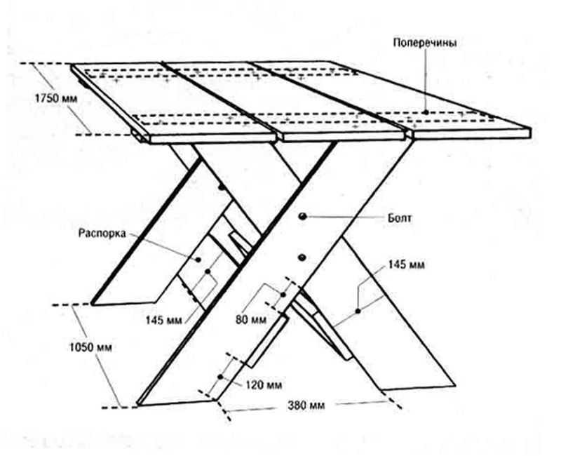 Чертеж стола с х-образными ножками