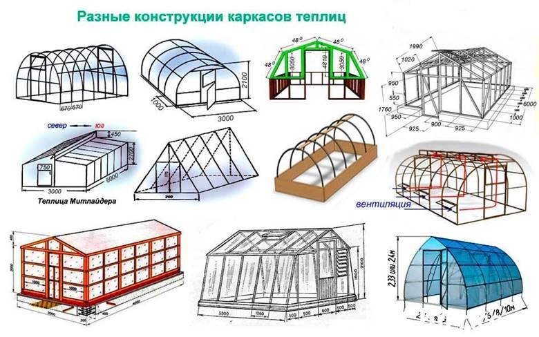 Различные конструкции теплиц