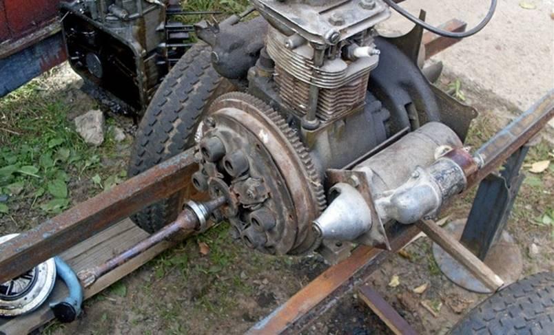 установка мотора, КПП со сцеплением
