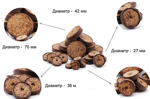 Различные размеры кокосовых таблеток